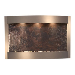 Adagio Water Features - Adagio Calming Waters Wall Fountain, Silver Metallic, Rajah Featherstone - Beautiful, elegant looking water feature at a great price. The Adagio Calming Waters Wall Fountain will bring your home decor to the next level without breaking the bank.  It offers a sleek design where the halogen lights shine on the sparkling water as it flows seamlessly down the face of the fountain.  It's lightweight nature and easy install brackets make it easy for even one man to install by himself.