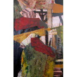 Beneath The Tracks (Original) by Mary Storms - This mixed media piece depicts the flora and fauna found beneath an old train trestle.