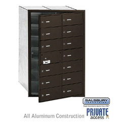 Salsbury Industries - 4B+ Horizontal Mailbox (Includes Master Commercial Lock) - 14 B Doors (13 usable - 4B+ Horizontal Mailbox (Includes Master Commercial Lock) - 14 B Doors (13 usable) - Bronze - Front Loading - Private Access