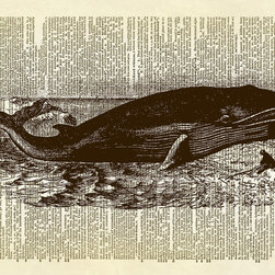 Altered Artichoke - Whale Ocean Animal Dictionary Print, Sepia - This print features an antique illustration of a whale with a man nearby. This is the perfect wall decor accent for any room in your home.