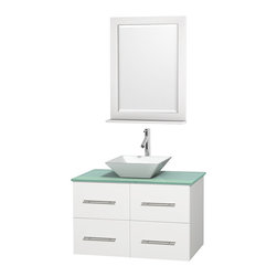 "Wyndham Collection - Centra 36"" White Single Vanity, Green Glass Top, Pyra White Porcelain Sink - Simplicity and elegance combine in the perfect lines of the Centra vanity by the Wyndham Collection. If cutting-edge contemporary design is your style then the Centra vanity is for you - modern, chic and built to last a lifetime. Available with green glass, pure white man-made stone, ivory marble or white carrera marble counters, with stunning vessel or undermount sink(s) and matching mirror(s). Featuring soft close door hinges, drawer glides, and meticulously finished with brushed chrome hardware. The attention to detail on this beautiful vanity is second to none."