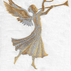 Anali - Gold Angel Linen Guest Towel - Touched by an angel. Give your guest bath a heavenly glow with this serenely beautiful, linen hand towel, highlighted with metallic embroidered threads.