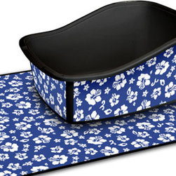 Kauai Sapphire Litter Tray - Litter boxes - no one likes to see them or smell them. I think my biggest issue is when someone leaves the litter box swimming in a see of litter crumbs. While style can't solve all those problems, this litter box and mat set are pretty darn good looks. While a cute print might not solve the odor or mess, it sure does make the whole thing look a lot better.
