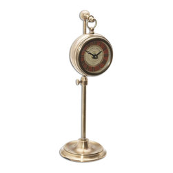 Tuscan Red Brass Pocket Watch Replica On Stand - *Brass pocket watch replica that hangs on an adjustable telescopic stand.