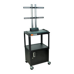 """Luxor - Luxor Flat Panel Cart - AVJ42C-LCD - The Luxor AVJ42-LCD series are excellent multipurpose AV/utility carts. This black unit comes with a LCD mount that holds up to a 42"""" flat panel display"""
