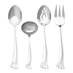Ginkgo - Ginkgo Leaf 4-Pc. Flatware Hostess Set - Includes 1 pierced serving spoon, 1 serving spoon, 1 cold meat fork and 1 sauce ladle. Art Nouveau styled Ginkgo Leaf. Organic flowing lines transition into the Ginkgo Leaf-A symbol of enduring strength. Material: 18/10 Stainless, 13 ChromeA simple and elegant motif design that captures the essence of one of Earth's oldest and most durable plants, the Ginkgo Tree. The signature pattern for Ginkgo International.