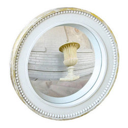 Beaded Bulls Eye Mirror - Gustavian interiors featured many mirrors and reflective surfaces as tools to add more light. This particular convex mirror has a painted finish and beaded details that play on the Swedish look.