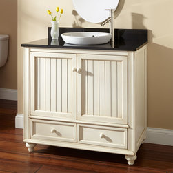 "36"" Schaefer Creamy White Vanity for Semi-Recessed Sink - The Schaefer Vanity exemplifies all the charm of cottage style. Wainscot paneling and shapely feet bring decorative elements to this off-white vanity."