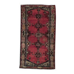 Harooni - Persian Hamadan Hand Woven 3' X 6' Home Dyed Wool Rug - Inspired by timeless Persian Hamadan designs crafted with the softest Wool available. Genuine Handmade 3 ft. x 6 ft. Persian Hamadan Rug from Iran. Exact size of this Persian Hamadan is 3' 4'' x 6' 4'' and it is in New-Very Good (Minor Color Vatiation) condition with predominant Red field color and Tan border, with the following accent colors: red, black, tan, beige. This is 100% Hand Knotted Red 3 ft. x 6 ft. Persian Hamadan Rug. It is not machine made, nor hand-tufted, it is authentic hand knotted 3 ft. x 6 ft. Rug, imported from Iran. Please refer to the last picture (the back of the Rug), which shows the authenticity of the weave.