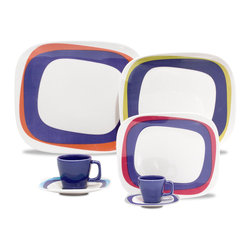 Oxford Porcelains - Karim Rashid-Shift Line-Koil 20 pc set - Don't adjust your set. This playful tabletop set incorporates an intriguing series of design elements that may instill the illusion that things are sitting a tad off-center. Yet in all actuality, each well-balanced piece is simply outstanding.