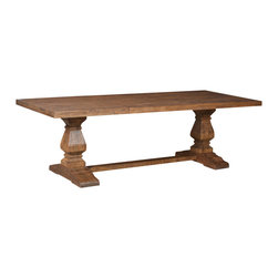 Sierra Living Concepts - Rustic Mango Wood Castle Twin Pedestal Trestle Dining Table - Sierra Living Concepts is proud to offer the Rustic Mango Wood Castle Twin Pedestal Trestle Dining Table, finely crafted rustic elegance at its finest.