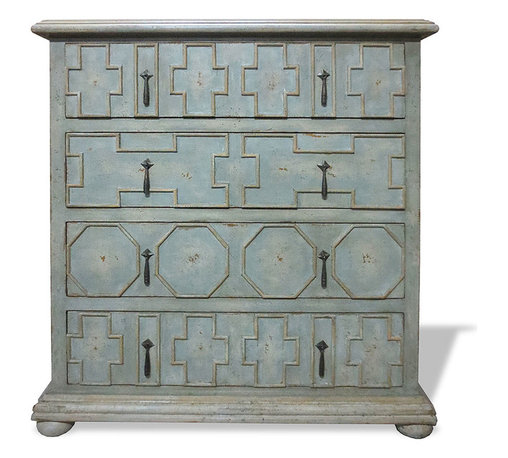 Koenig Collection - Old World Chest Of Drawers Native Geo,, Pale Turquoise - Native Geo Chest, Pale Turquoise with Cream Undertones and Golden Accents,