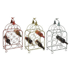 "Benzara - Attractive Modish Styled Metal Wine Holder 3 Assorted - Introducing this classy styled metal wine holder 3 assorted that will be a great addition to your in- house small bar. Made of quality metal this wine holder is durable and easy to clean and maintain. The metal wine holder is shaped as that of a bird cage with a semi circle handle and bird on the top. Alluring metal wine holder is polished in red, green and grey color palette. The fresh color adds beauty to this wine holder and makes it look wonderful. Guests and other friends will be surprised to check out this attractive metal wine holder at your place. Besides, you can also gift your near and dear ones this attractive metal wine holder and surprise them. Put an end to your thoughts and get this metal wine holder right away. Metal Wine Holder 3 Assorted measures 13 inches (W) x 7 inches (D) x 24 inches (H) x 2; Made of quality metal; Durable construction; Dimensions: 19""L x 3""W x 24""H"
