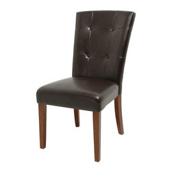 Steve Silver - Montibello Parsons Chairs - Dark Brown - Set of 2 - The perfect complement to any dinnerthe Granite Bello dining collection will inspire intriguing dinner conversations and the irresistible style will provide a sanctuary for all the senses. The Parsons chairs are offered in a tufted dark brown leather with legs wrapped in a cherry finish.