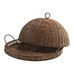 Zodax - Zodax Woven Tray with Cloche - Zodax - Serving / Decorative Trays - VT1141 - Stylish woven tray with cloche designed to enhance your dining experience with its natural color and woven pattern. Perfect for picnic and more.