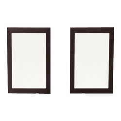 Bathroom Mirrors with Solid Wood Trim in Espresso, Set of 2