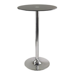 """Winsome Wood - Winsome Wood Rossi Round Black Glass Top Pub Table w/ Metal Pedestal Base - Round Black Glass Top Pub Table w/ Metal Pedestal Base belongs to Rossi Collection by Winsome Wood Rossi Round Tempered Glass Pub Table is perfect additional for your kitchen or game room. Table top size is 23.62W x 23.62""""D. Black tempered Glass top finish with chrome leg and base. Assembly Required Pub Table (1)"""