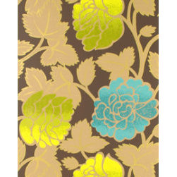 Sarafan Wallpaper, Chocolate - Designers Guild's wallpaper featuring gilded chartreuse and sky blue blooms packs a punch of color, pattern and texture. It's perfect for a powder room.