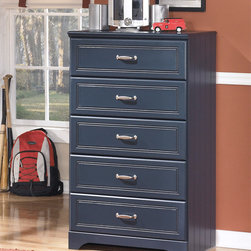 Signature Design by Ashley - Signature Designs by Ashley Kid's Leo Blue 5-drawer Chest - Help your child keep their space tidy and organized with this charming 5-drawer chest from Ashley Furniture. The solid wood construction features deeply grooved panels for added style while the deep blue paint offers versatile decor options.