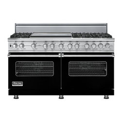 """Viking 60"""" Pro-style Dual-fuel Range, Black Natural Gas   VDSC5606GBK - The 60"""" wide dual fuel model offers the ultimate in capacity, power, and performance. The 15,000 BTU gas burners are equipped with the VSH Pro Sealed Burner system, ensuring a consistent flame from the most delicate simmer to a roaring boil. The front right burner also delivers an 18,500 BTU TruPower setting."""