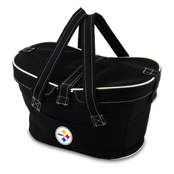 Picnic Time - Pittsburgh Steelers Mercado Picnic Basket in Black - This Mercado Basket combines the fun and romance of a basket with the practicality of a lightweight canvas tote. It's made of polyester with water-resistant PEVA liner and has a fully removable lid for more versatility. Take it to the farmers market, the beach, or use it in the car for long trips. Carry food or sundries to and from home, or pack a lunch for you and your friends or family to share when you reach your destination. The Mercado is the perfect all-around soft-sided, insulated basket cooler to use when you want to transport a lunch or food items and look fashionable doing it.; Decoration: Digital Print; Includes: 1 removable canvas lid