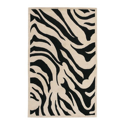 Surya - Surya Animal Inspirations Goa Black-Ecru 5'x8' Rectangle Area Rug - The Goa area rug Collection offers an affordable assortment of Animal Inspirations stylings. Goa features a blend of natural Black  Blue color. Hand Tufted of 100% New Zealand Wool the Goa Collection is an intriguing compliment to any decor.