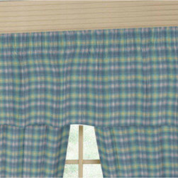 Patch Quilts - Blue Aqua and Pink Plaid Fabric Curtain Valance 54 x 16 Inch - Home Spun,  yarn dyed fabric valance  - Window treatments , Complements the Patch Magic Quilted line  - Machine washable  - Line or Flat dry only Patch Quilts - CVW065F