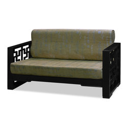 "China Furniture and Arts - Elmwood Wan Zi Love Seat - Upon looking at this love seat, a viewer once uttered in awe, ""a chair fit for a prince"". Thus the chair acquired a name ""Wang Zi"", or ""Prince"", in Chinese. In this unique design, the art of Chinese window paneling is integrated with a perfect choice of black-ebony finished Elmwood to show its maze-like intricacy. This piece gives a pleasant view as well as a comfortable sitting with beautiful hand made tan-color linen cushion accented with silver embroidered Chinese writing."