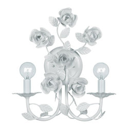 Crystorama - White Wrought Iron Wall Sconce - Hand painted wrought iron and fashion forward styling.