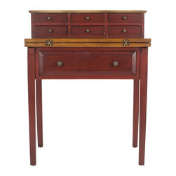 Safavieh - Abigail Fold Down Desk - Cherry/ Honey Oak - Modeled on an antique roll top desk, but with clean lines for 21st century homes, the Abigail Fold Down Desk is both charming and functional. Crafted of pine with cherry finish with contrasting honey oak writing surface. Styled for small spaces, this desk is the perfect �office� in bedroom, kitchen or guest room.