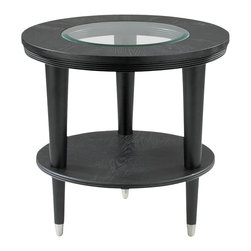 Klaussner - Round Ontario with Glass Inset and Shelf - Sophisticated styling distinguishes the Ontario occasional table collection. Thick layers of Wood are shaped in a symmetrical circle and an insert of Glass reveals modernistic tapered legs with a touch of brushed Nickel hardware. 25 in. L x 25 in. L x 24 in. H. This product is not California Air Resources Board (CARB). compliant and cannot be shipped to California.