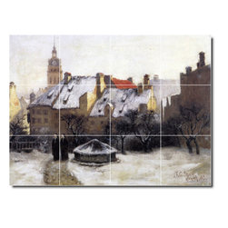 Picture-Tiles, LLC - Winter Afternoon Old Munich Tile Mural By Theodore Steele - * MURAL SIZE: 24x32 inch tile mural using (12) 8x8 ceramic tiles-satin finish.