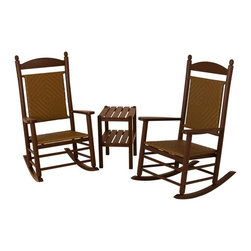 Polywood - 3-Piece Eco-friendly Outdoor Woven Rocker Set - Solid, heavy-duty construction withstands natures elements. There is just something about the Polywood Jefferson 3-Piece Woven Rocker Set that sends out an irresistible invitation to slow down, sit back and relax awhile. Designed to create an attractive and comfortable outdoor seating area. The table is built for long-lasting beauty and durability. Polywood lumber requires no painting, staining, waterproofing, or similar maintenance. It does not splinter, crack, chip, peel or rot and it is resistant to corrosive substances, insects, fungi, salt spray and other environmental stresses.