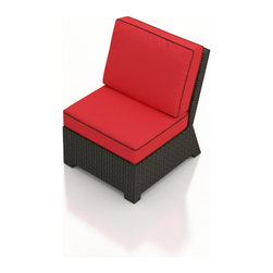 Forever Patio - Barbados Outdoor Wicker Sectional Middle, Flagship Ruby Cushions - Extend your outdoor sectional seating with the incredibly modern Forever Patio Barbados Modern Outdoor Wicker Sectional Middle Chair with Red Sunbrella cushions (SKU FP-BAR-SMC-EB-FB). The UV-protected, ebony-colored resin wicker sports a flat woven design, creating a contemporary look with clean lines. Each strand of this outdoor wicker is made from High-Density Polyethylene (HDPE) and is infused with its rich color and UV-inhibitors that prevent cracking, chipping and fading ordinarily caused by sunlight. This modern outdoor sectional piece is supported by thick-gauged, powder-coated aluminum frames that make it more durable than natural rattan. This sectional piece includes fade- and mildew-resistant Sunbrella cushions for added comfort in your outdoor area.