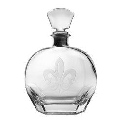Rolf Glass - Grand Fleur De Lis Whiskey Decanter 23oz - The hue of any of your finest aged Scotch, bourbon or whatever your pleasure will be amplified by this clear decanter. A single elegant fleur-de-lis is sand-etched on the crystal.