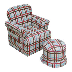 4D Concepts - 4D Concepts Rolled Arm Char w/ Round Ottoman in Plaid - This beautifully crafted kids chair will brighten any kids room.   The chair is crafted with 100% cotton upholstery for durable wear and easy clean.   The chairs frame is crafted with composite wood and filled with polyfoam.  Plaid ottoman is included with the chair.  Constructed of wood and fabric.  Clean with non abrasive cloth.  Light assembly required.