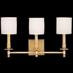 Hudson Valley Lighting - Palmer 3-Light Wall Sconce by Hudson Valley Lighting - The Hudson Valley Palmer 3-Light Wall Sconce is an attractive fixture for spaces ranging from transitional to mid-century, even American Traditional. Its linen shades feature a fine pleat and allow softly diffused light to accent a dining room or hallway. Available in 4 distinctive, classic finishes.Hudson Valley Lighting, located in Newburgh, NY, designs and manufactures vintage and contemporary lighting to exacting standards.The Hudson Valley Palmer 3-Light Wall Sconce is available with the following:Details:3 cylindrical fabric shadesSolid brass supportsSquare wall plateUL ListedOptions:Finish: Aged Brass, Old Bronze, Polished Nickel, or Satin Nickel.Lighting: Three 60 Watt 120 Volt Type E12 Candelabra Base Incandescent lamps (not included).Shipping:This item usually ships within 3 to 5 business days.