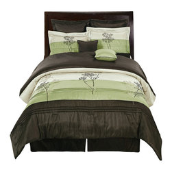 Bed Linens - Portland Sage Blue 12-Piece Bed in A Bag Queen Size - The colors of this set are combination of Sage and Coffee with Green and beige stitching with White sheet set.
