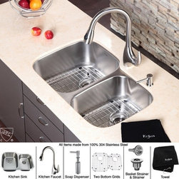 Kraus - 32 in. Double Bowl Sink and Pull out Faucet with Soap - Add an elegant touch to your kitchen with unique Kraus kitchen combo