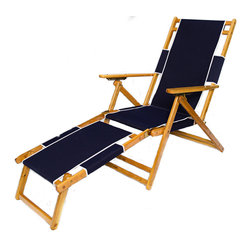 Sunrise Chair Company - Sunrise Beach Chair & Footrest - Navy - Made with high quality white oak, rust-proof brass, Sunbrella outdoor fabric and double dipped marine grade varnish. Sunrise chairs will withstand the harsh conditions that the salt, sand, sun, and wind might present on the beach.