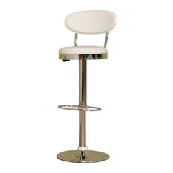 Wholesale Interiors - Achilla White Adjustable Barstool - Accentuate your home bar or counter with this modern barstool. Adjustable height with swivel base. This barstool is constructed of durable chromed steel. Easy-to-clean vinyl seating in white. Comfortable high density foam padding. Its perfect combination of quality craftsmanship and simple, sophisticated designs will instantly enhance your living space. Overall measures 16 inches wide x 15 inches deep x 42.75 to 34.5 inches high. Seat measures 13.5 inches deep x 23.75 to 32 inches high.