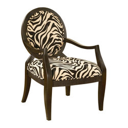 William's Imports - Zebra Accent Chair - Occasional collection. Zebra print. Elegantly curved arm-rests. Wide seat bottom. Fabric constituent. Espresso finish. 26.5 in. W x 28.5 in. D x 38 in. H