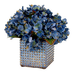 Blue Hydrangea in Blue Textured Pot - This piece has beautiful blue hydrangeas in a textured ceramic pot.