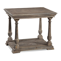 Bassett Mirror - Pemberton Rectangular End Table - Pine veneers and fir solids in a smoked barnside finish. Measures: 24 in. W x 28 in. D x 24 in. H. Part of the Pemberton Collection.