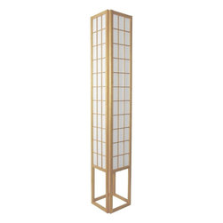"Oriental Furniture - 72"" Window Pane Shoji Lamp - Natural - This six foot tall Window Pane Shoji Lamp showers soft, soothing light onto its surroundings. Constructed from Scandinavian spruce and washi rice paper, its design is inspired by traditional shoji screens. At once timeless and contemporary, this lamp will make an elegant addition to any room."