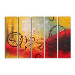"My Art Outlet - Hand Painted ""Graffiti on copper"" 5 Piece Set Oil Painting - Size: 40"" x 60"" (12"" X 40"" x 5pc). Enjoy a 100% Hand Painted Wall Art made with oil paints on canvas stretched over a 1"" thick wooden frame. The painting is gallery wrapped and ready to hang out of the box. A very stylish addition to any room that is sure to get the attention of guests."