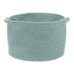 """Colonial Mills - Bristol Storage Basket - Teal, 14"""" x 10"""" - Made of wool blend yarns, this casually chic woven natural storage basket is built for stashing magazines, throws, toys and craft supplies. Made in the USA."""