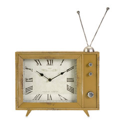 Garrett Retro TV Clock - The Garrett clock takes inspiration from retro modular television models and adds the classic rabbit ear design to the mustard finished enclosure.