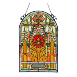 None - Tiffany Style Cathedral Design Stained Glass Panel - This Tiffany style Cathedral design Window Panel contains over 415 pieces of Hand cut Tiffany style glass that will add color and warmth to any setting.