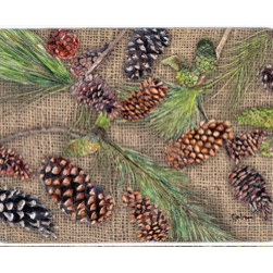 Caroline's Treasures - Pine Cones Kitchen Or Bath Mat 20X30 - Kitchen / Bath Mat 20x30 - 20 inches by 30 inches. Permanently dyed and fade resistant. Great for the Kitchen, Bath, outside the hot tub or just in the door from the swimming pool.    Use a garden hose or power washer to chase the dirt off of the mat.  Do not scrub with a brush.  Use the Vacuum on floor setting.  Made in the USA.  Clean stain with a cleaner that does not produce suds.